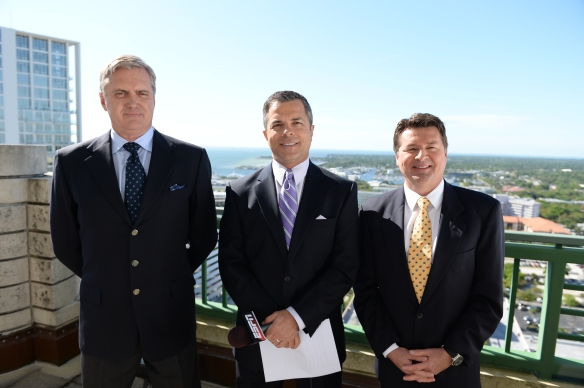 St. Petersburg, FL - March 30, 2014: Eddie Cheever, Alan Bestwick and Scott Goodyear during the 2014 Firestone Grand Prix of St. Petersburg (Photo by Allen Kee / ESPN Images)