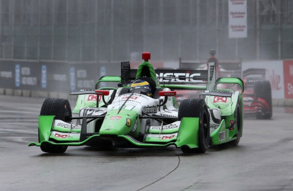 Sebastien Bourdais, of France, drives in the rain during the second race of the IndyCar Detroit Grand Prix auto racing doubleheader Sunday, May 31, 2015, in Detroit. (AP Photo/Dave Frechette) ORG XMIT: MIPS109