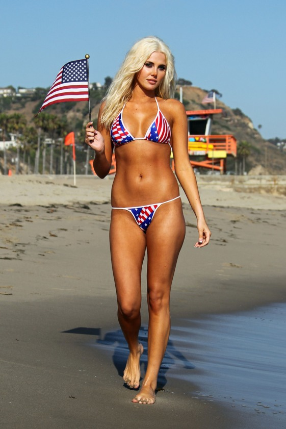 **EXCLUSIVE** Playboy model Karissa Shannon gets in the mood for Fourth of July on the beach in Malibu