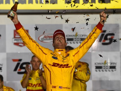 Jul 18, 2015; Newton, IA, USA; IndyCar Series driver Ryan Hunter-Reay (28) reacts after winning the Iowa Corn 300 at Iowa Speedway. Mandatory Credit: Mike DiNovo-USA TODAY Sports ORG XMIT: USATSI-230374 ORIG FILE ID: 20150718_lbm_ad1_319.JPG